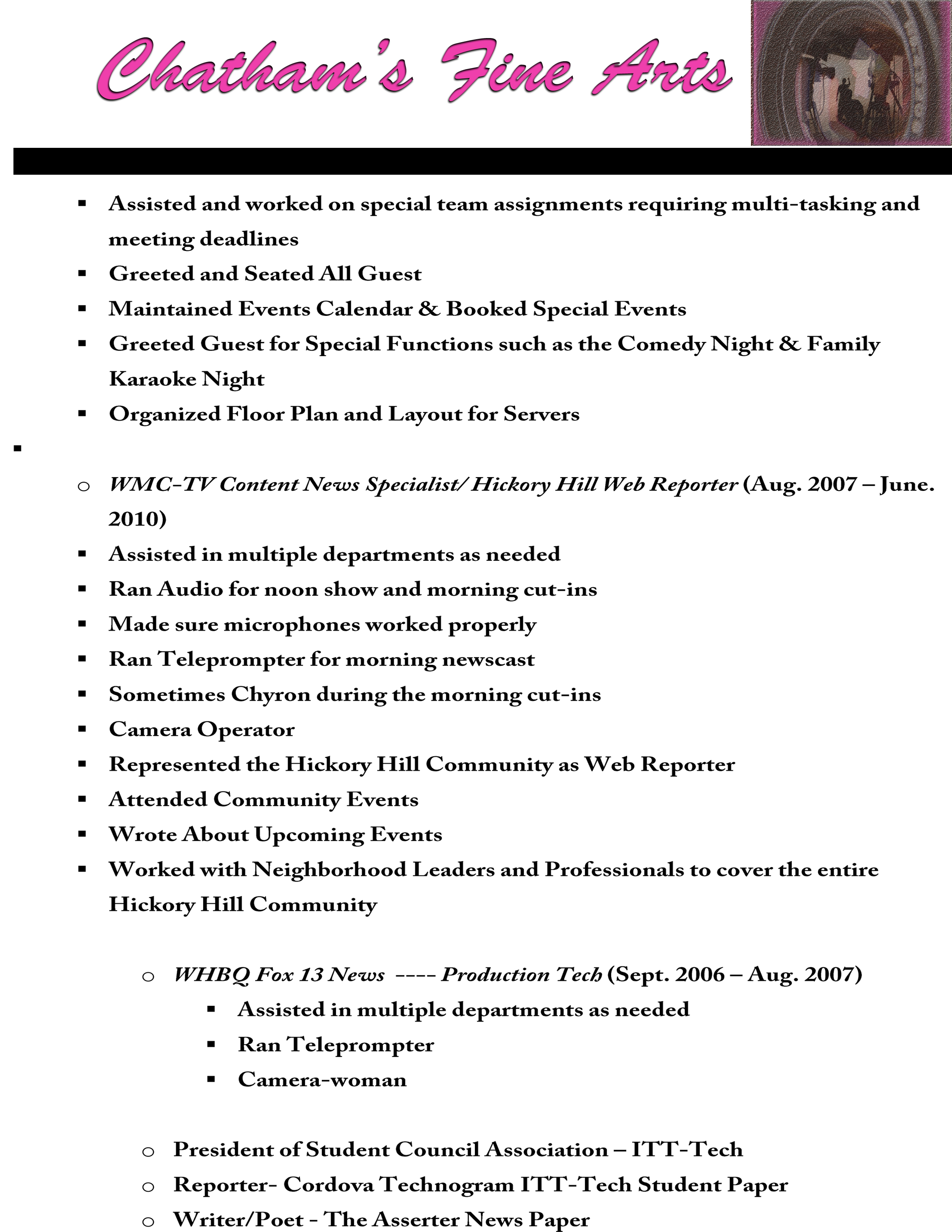 Fine arts resume samples