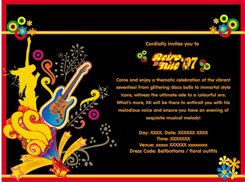 Retro Nite theme party invite. Print by sania dsilva at Coroflot com