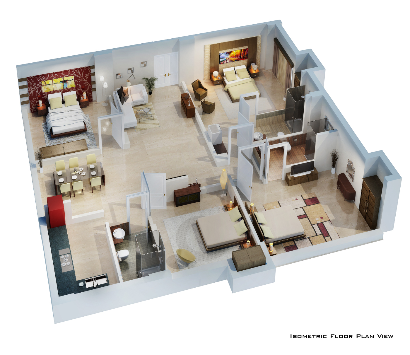 Isometric floor plan render in 3d by pradipta seth at House plan 3d view