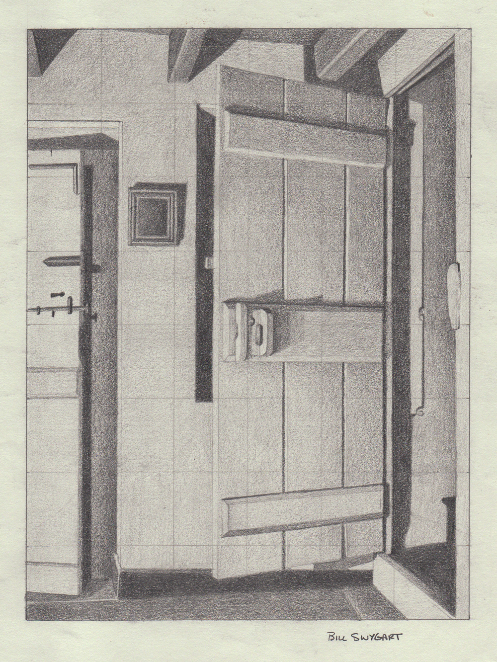 Door pencil drawing - The Open Door 6 X 8 School Project We Were Given A 3 X 4 Copy Of Charles Sheeler S The Open Door And We Were Required To Create A 200 Percent
