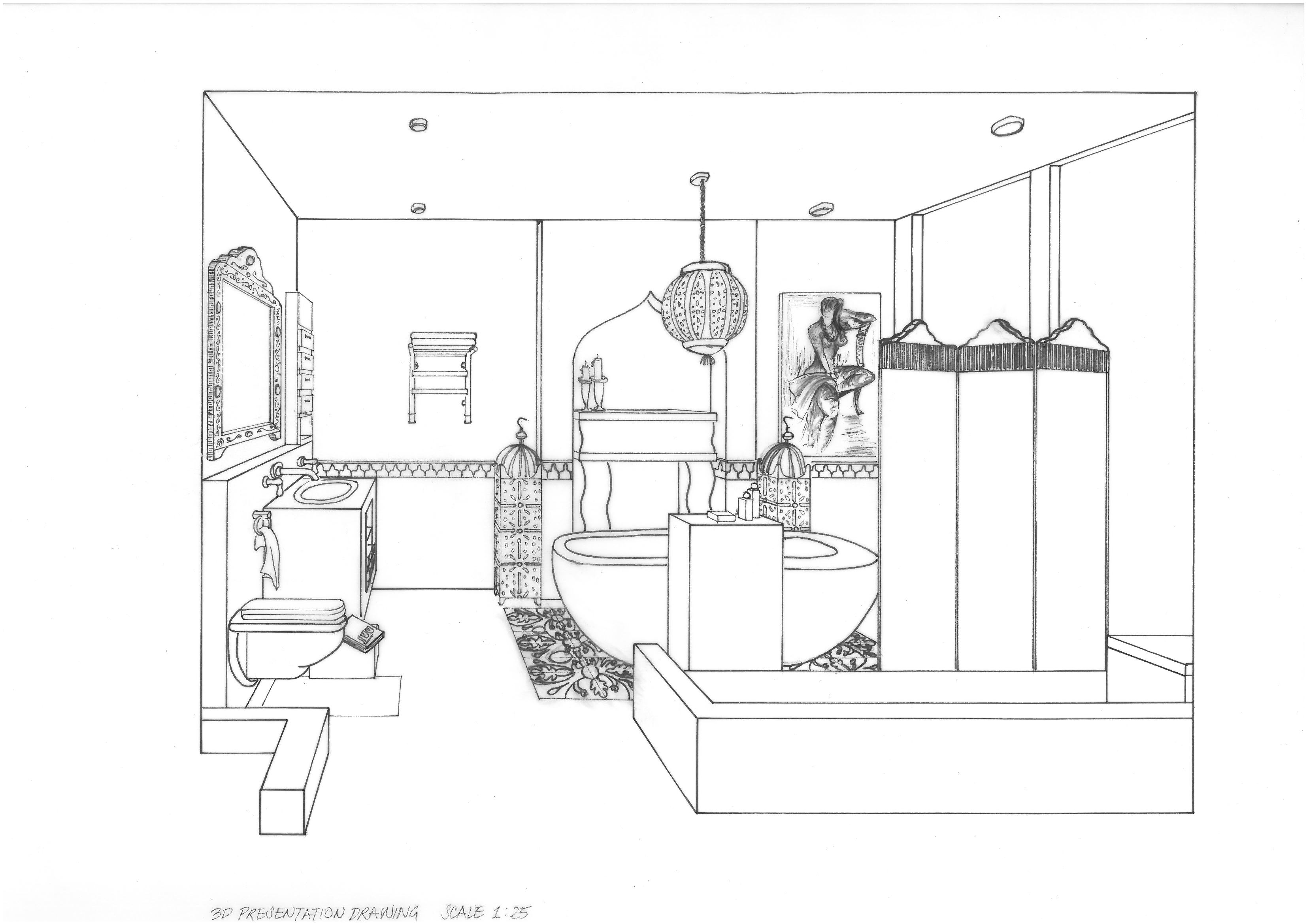 Free hand drawings by joy ezeka at for Bathroom designs drawing