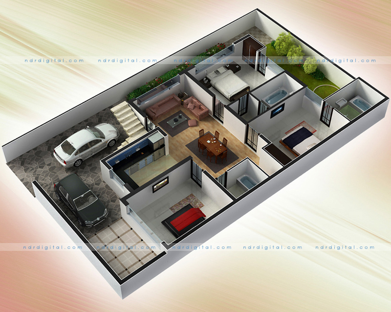 2d plan render and graphic designing by ndr digital at Home plan 3d