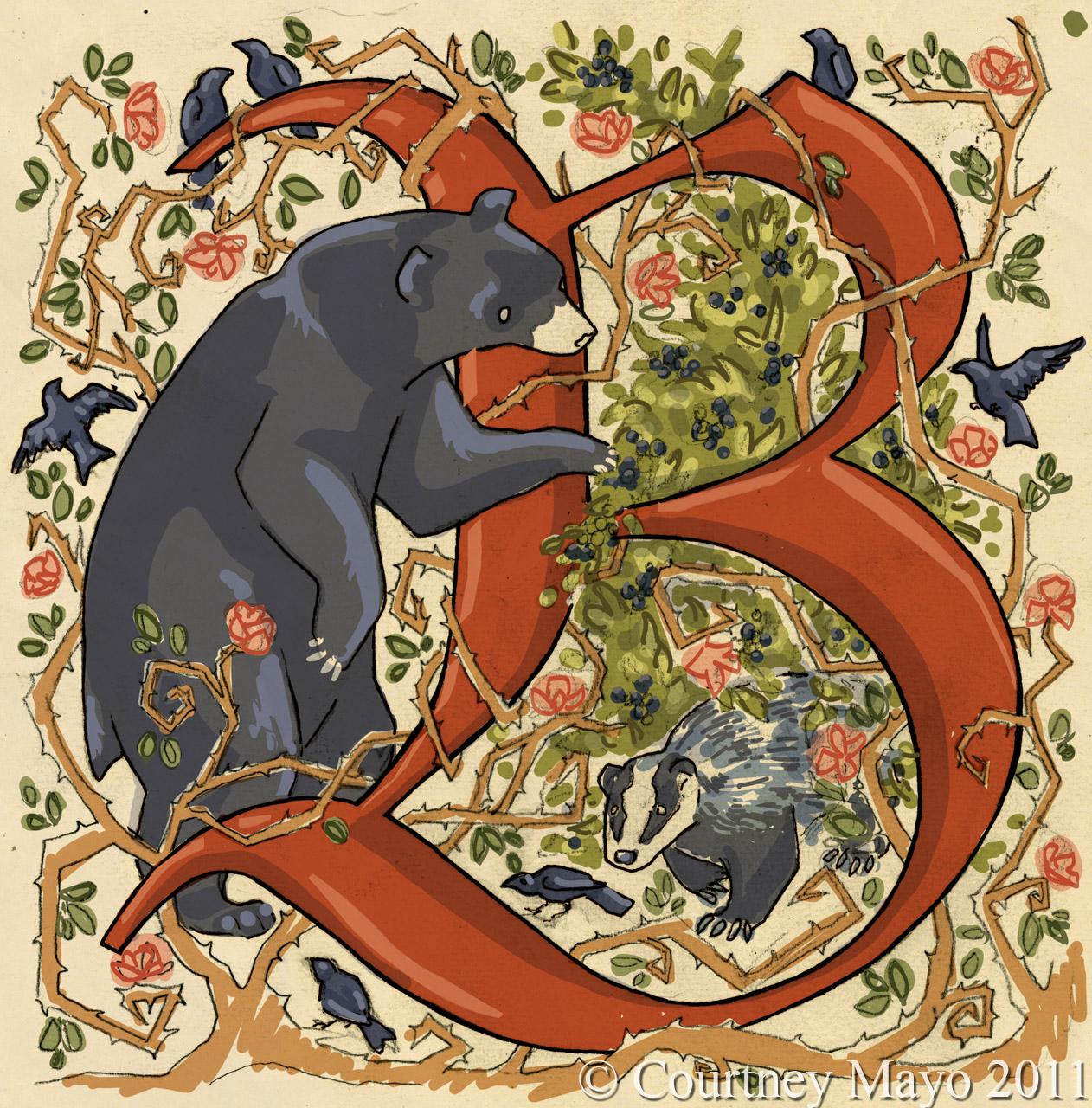 Medieval Illuminated Letters J Illuminated letter b