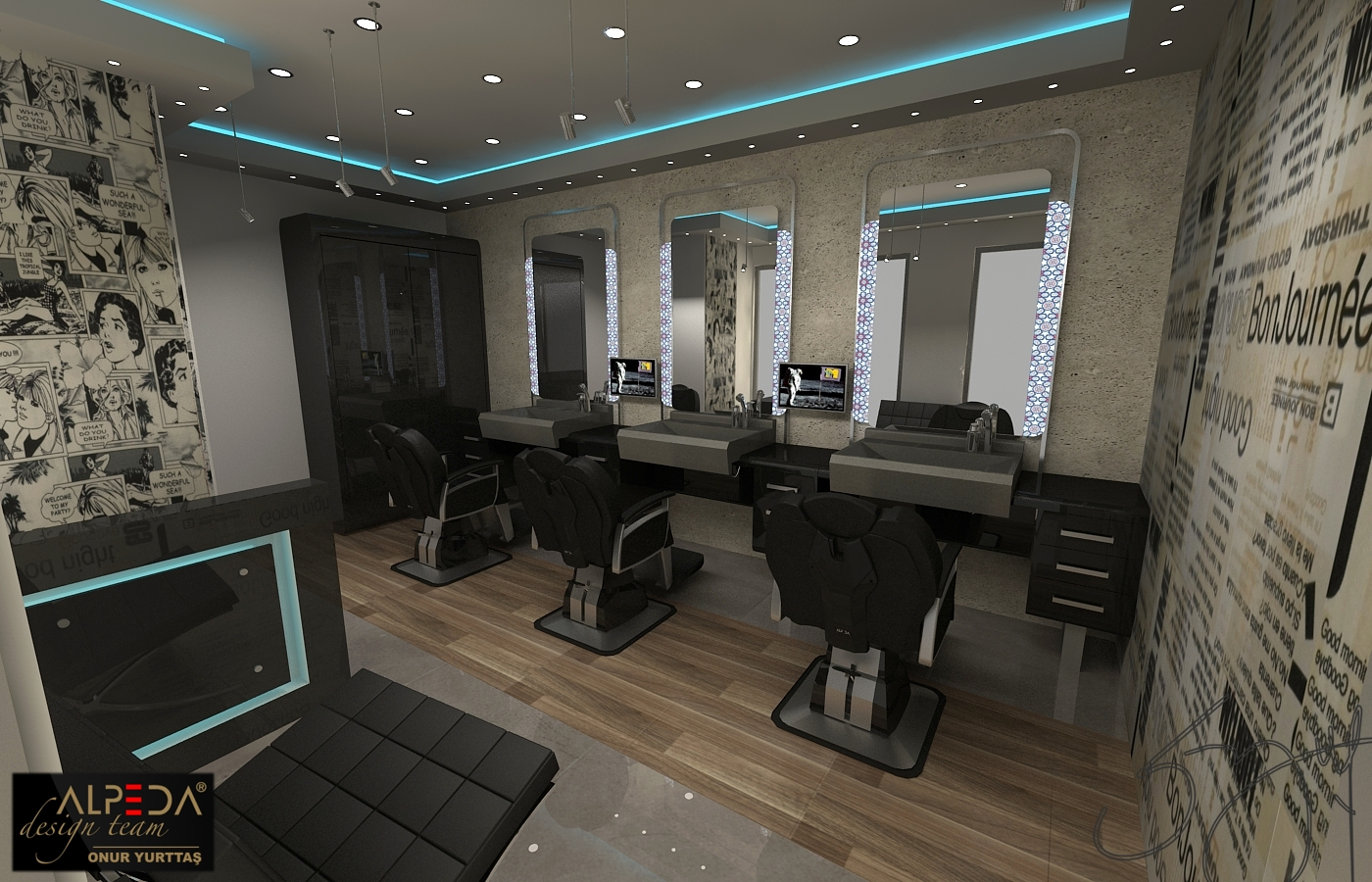 Coiffure salon design by onur yurttas at - Salon architecture ...