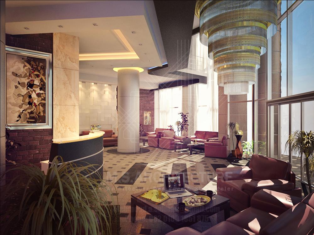 Small hotel entrance lobby design by mahmoud salman at Small hotel lobby