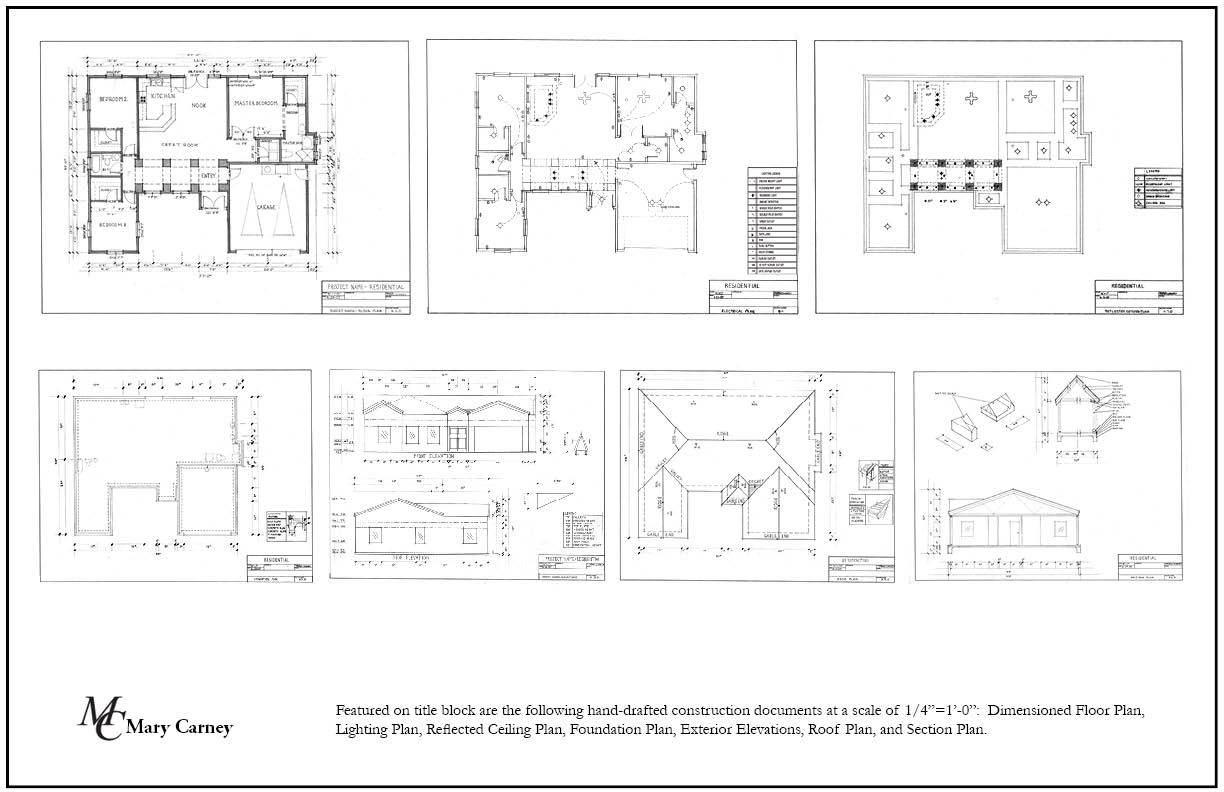 Drafting 2 featured on title block are the following hand drafted construction documents at a scale of 141 0 dimensioned floor plan lighting plan