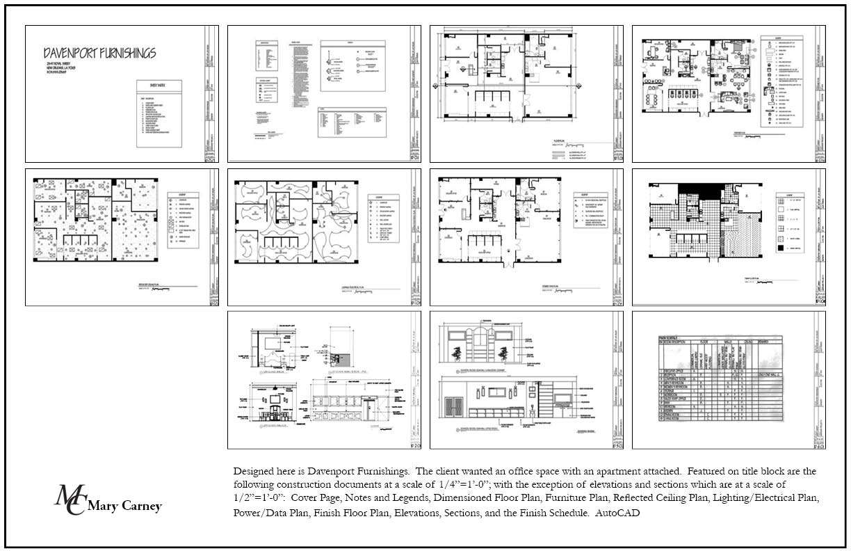 Reflected ceiling plan reflected ceiling ceiling plan construction -  Autocad Construction Documents At A Scale Of 1 4 1 0 Cover Page Notes And Legends Dimensioned Floor Plan Furniture Plan Reflected Ceiling Plan