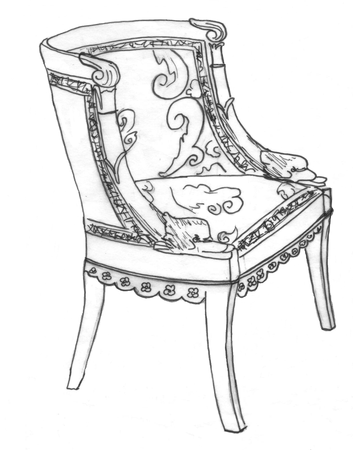 Rococo furniture sketch - Gondola Chair Gondola Chair Jacob Desmalter Early 19th Century Paris Empire