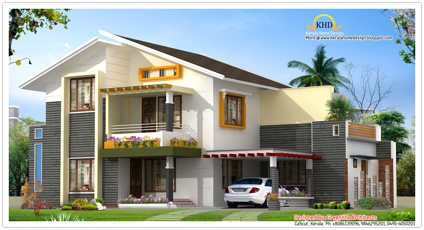 Modern villas elevation omahdesigns net for Modern villa plans and elevations