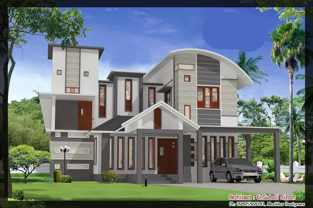 Modern house 3d elevations and plans images interior for Contemporary villa plans