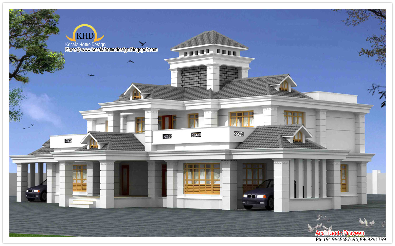 Double storied home kerala design floor plans plan for New model veedu photos