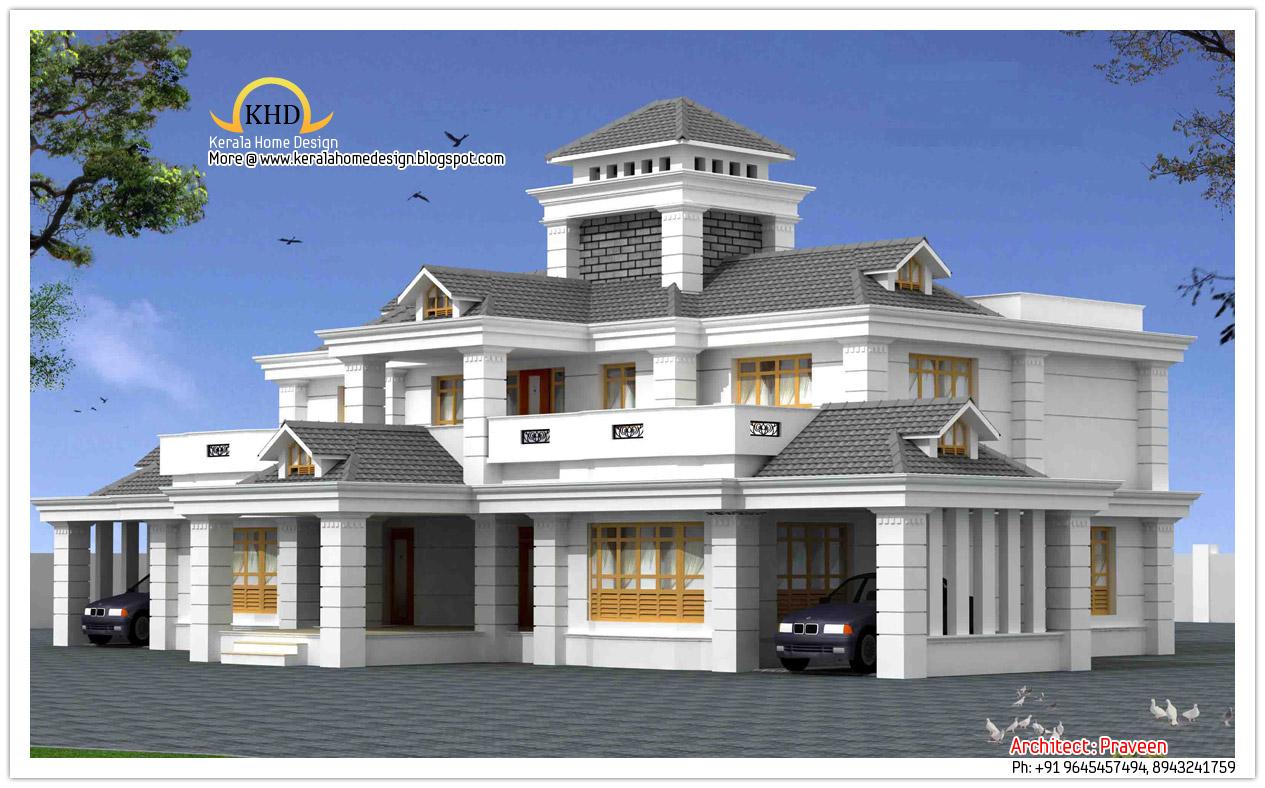 Double storied home kerala design floor plans plan for New model veedu photos