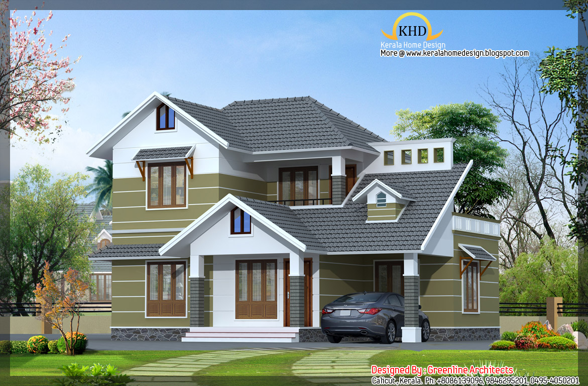 Villa elevation photos homedesignpictures for Villa plans in kerala