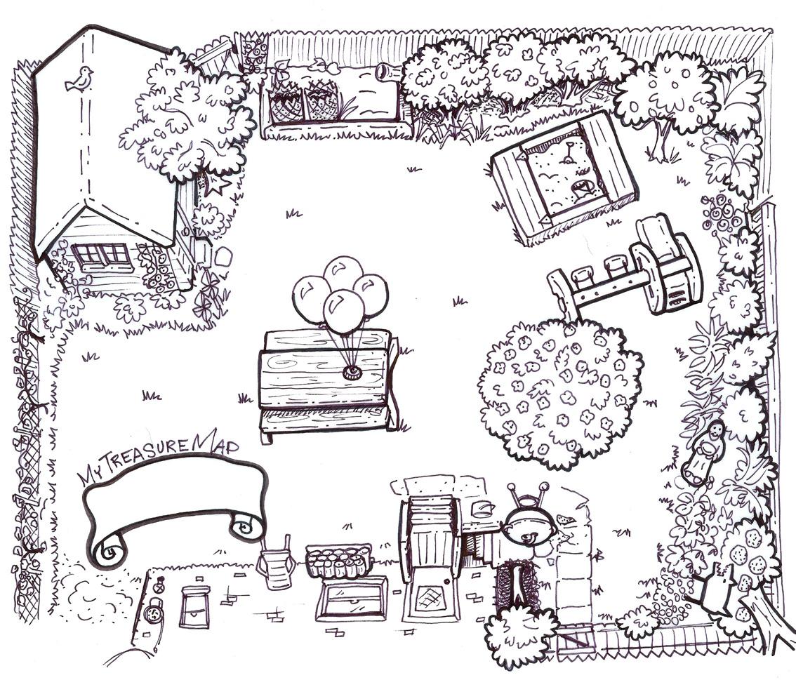 backyard treasure hunt map copyright mary lenehan 2012 Forest Coloring Pages  Backyard Coloring Pages