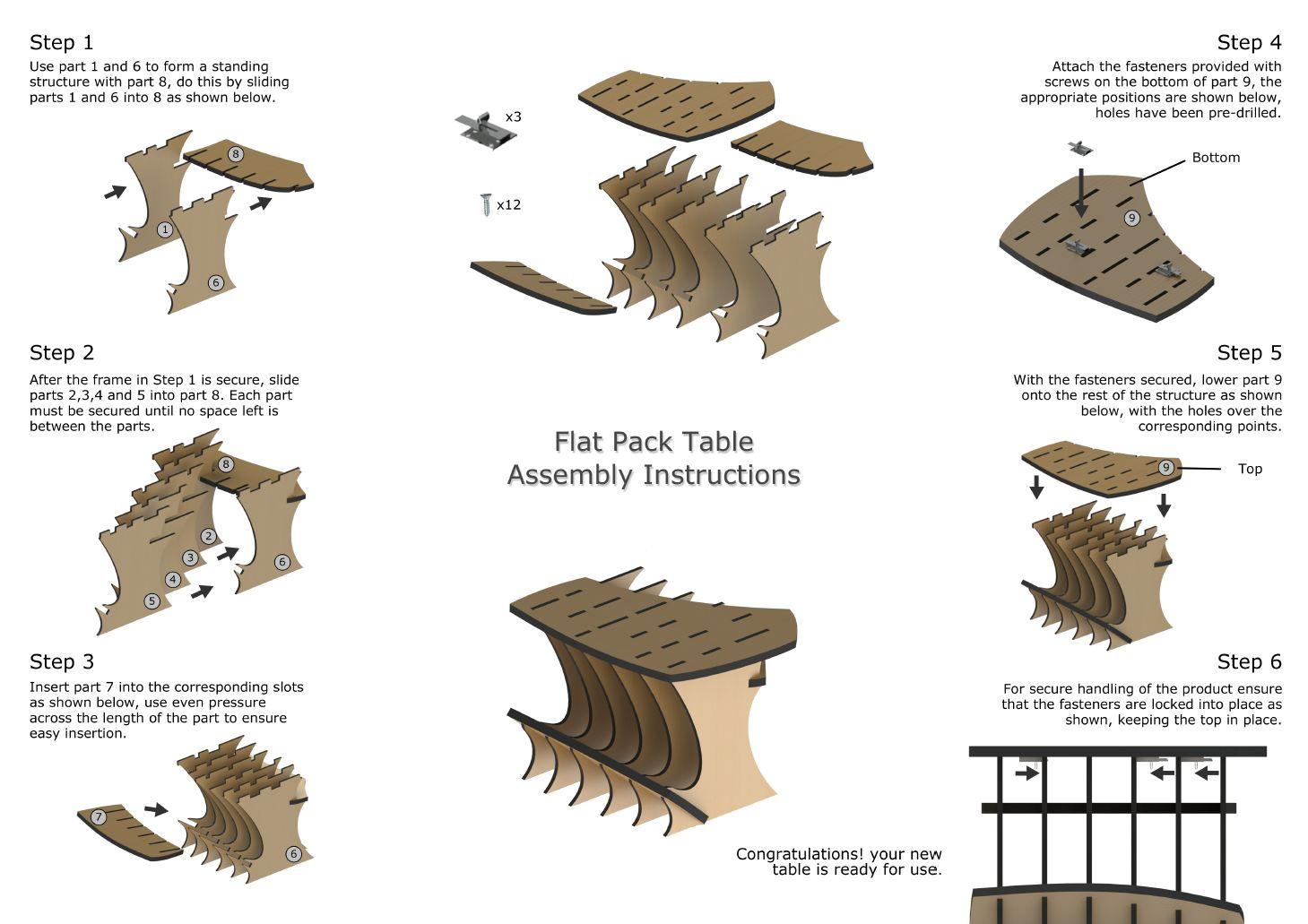 Furniture Design  Flat Pack Table by Johan de Beer at Coroflotcom