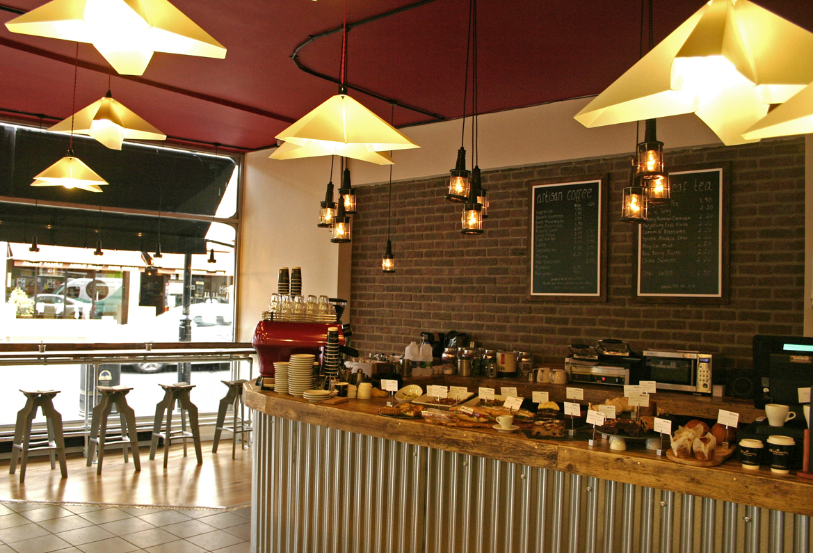 Cafe design and build by cameron fry at for Interior cafe designs