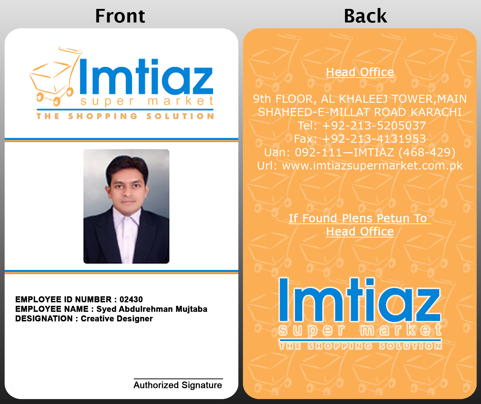 Company and Super Market Employee ID and Business Cards by Syed ...
