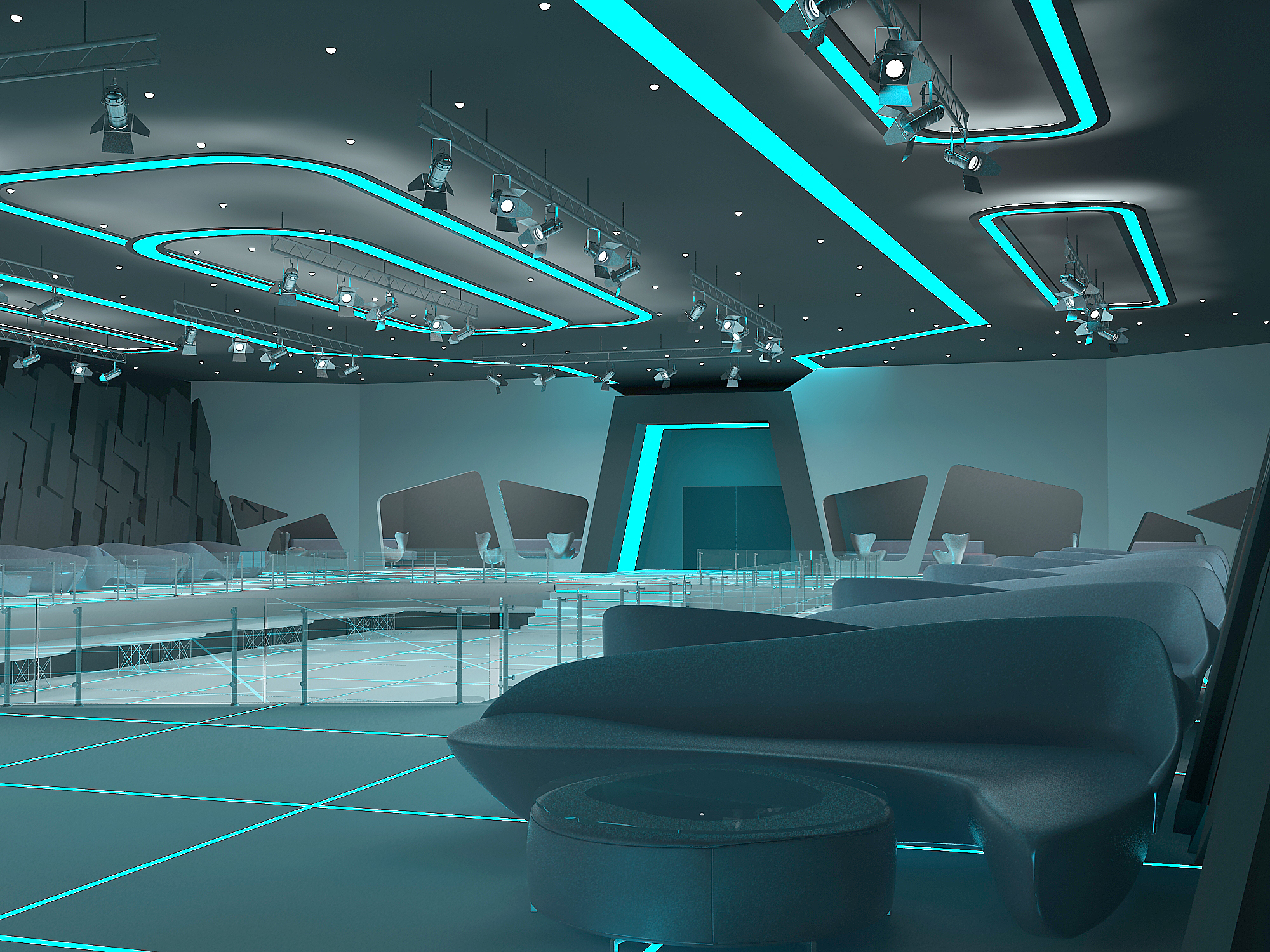 tron style club interior with aleksandra gromova by nikita voronov at