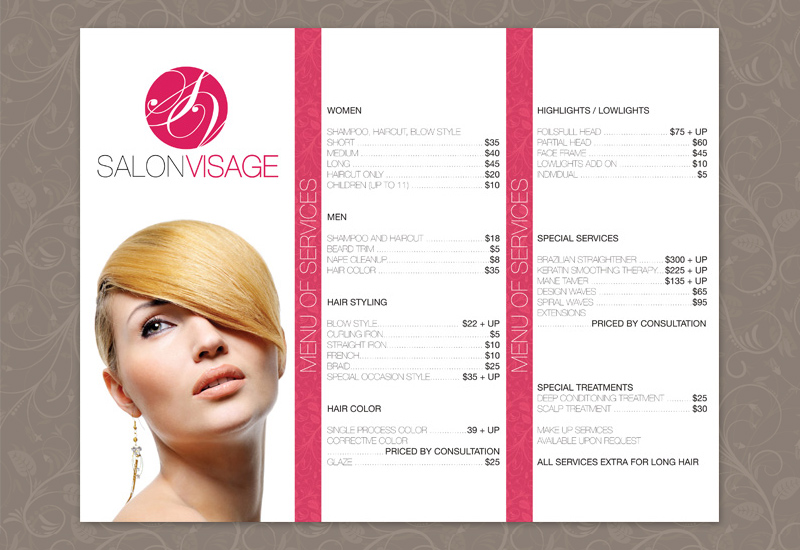 Salon Brochure Stylish Hair Salon Trifold Brochure Template Stylish