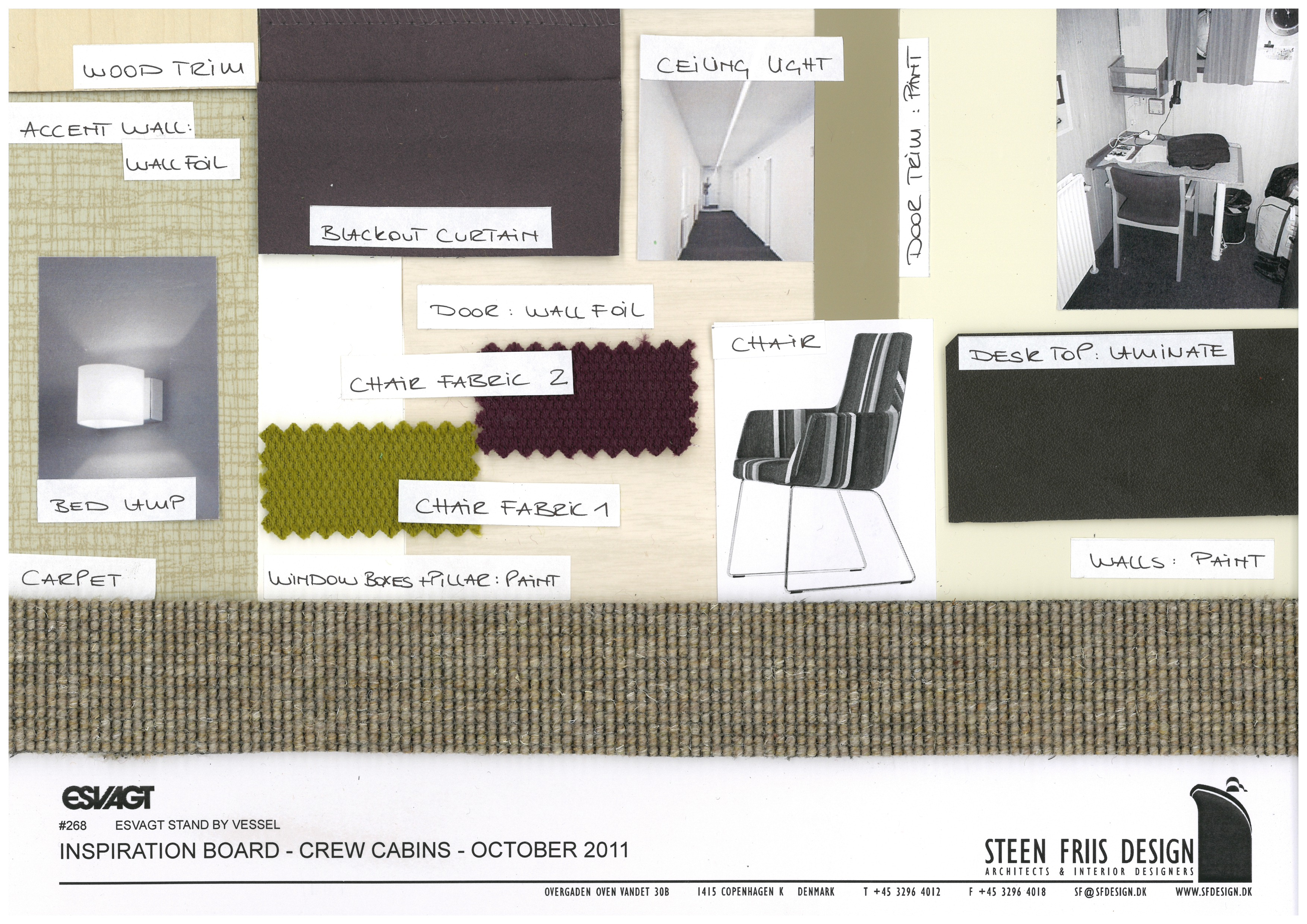 Interior design standby vessel by mae rickardsson at - Materials needed for interior design ...
