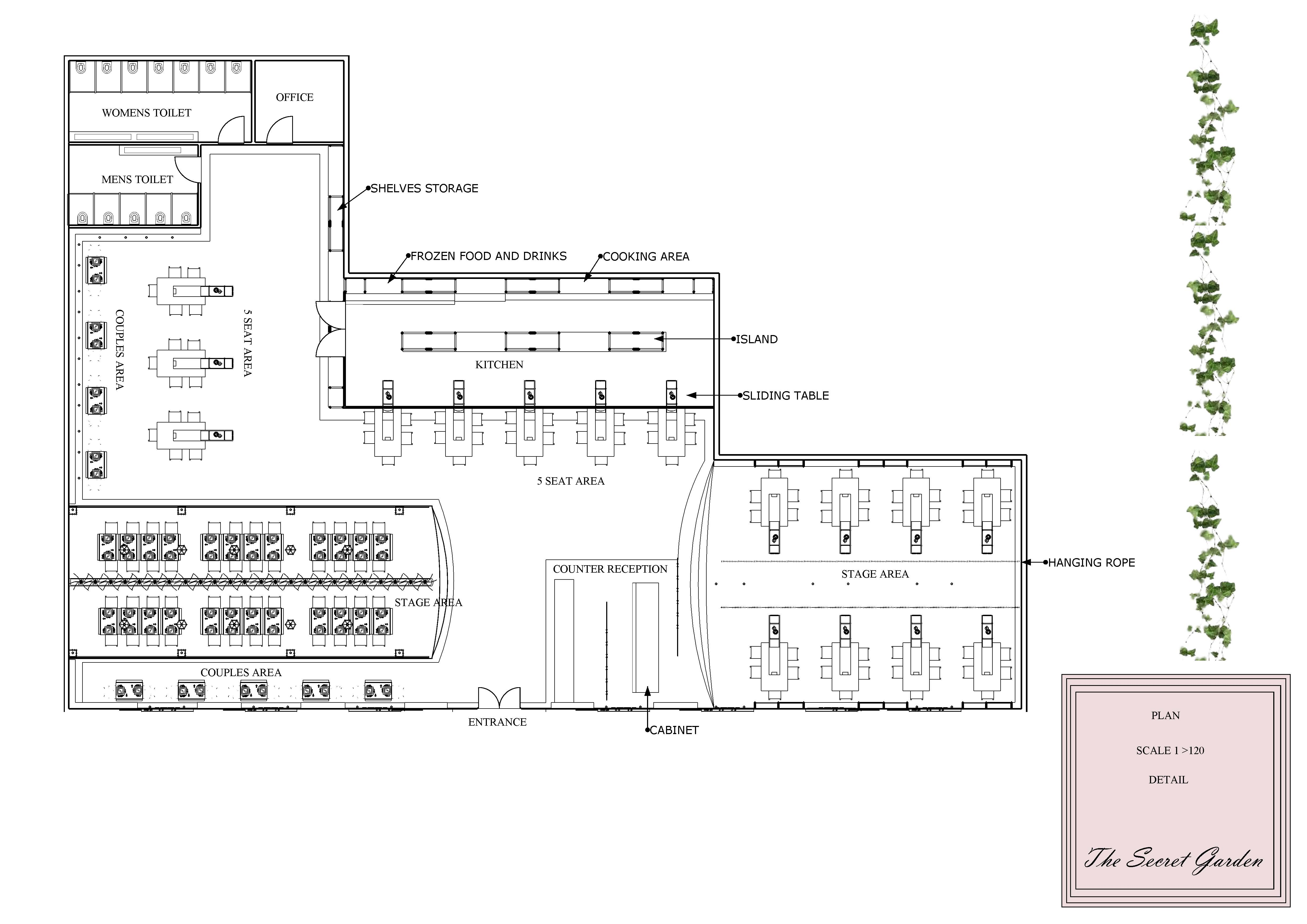 Restaurant floor plan layout with kitchen included