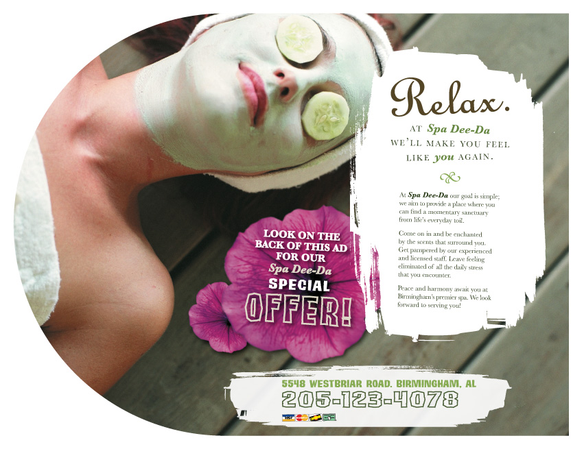 Print advertising by lauren grecus at for Spa ad asiago