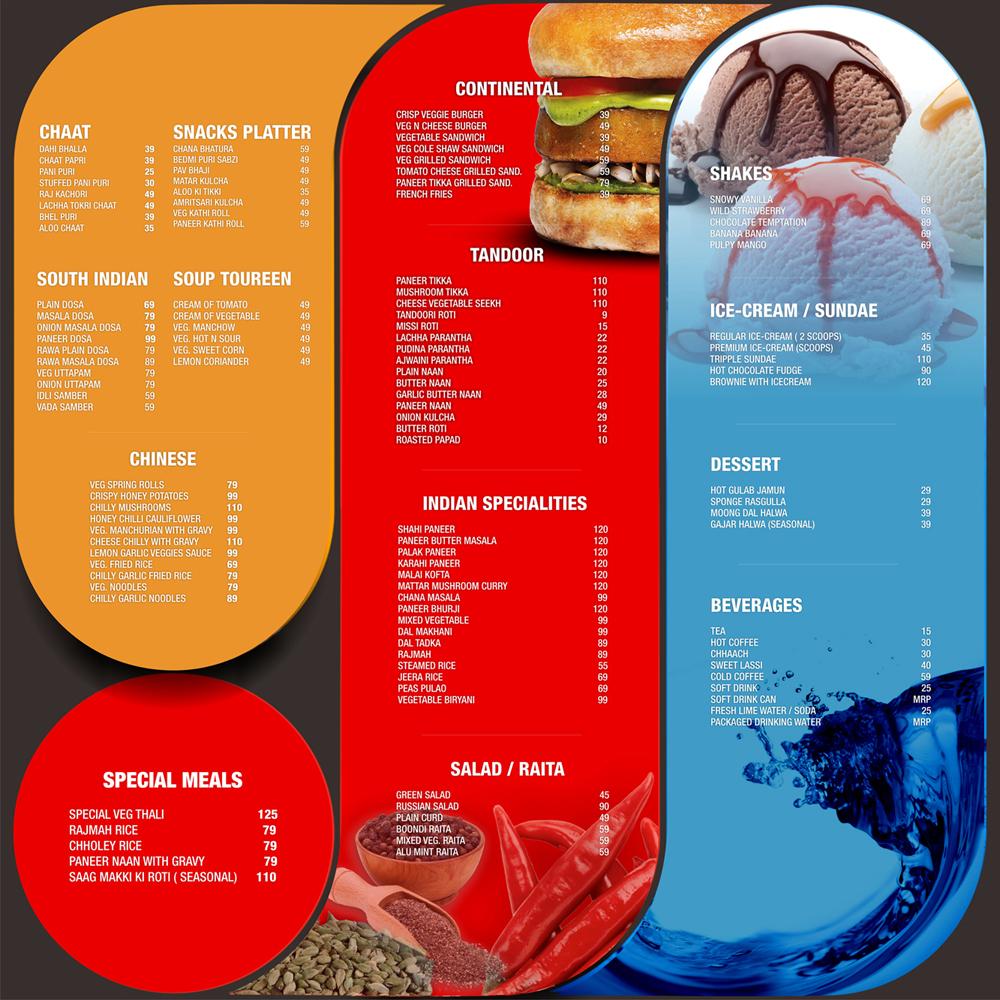 Indian restaurant menu design samples