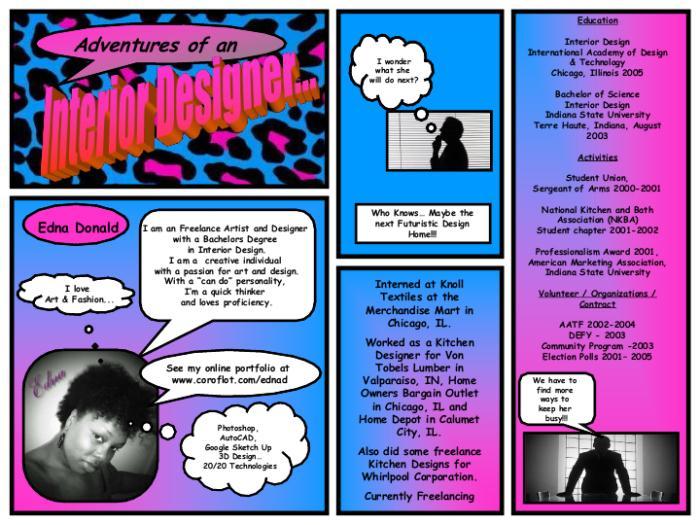 comic resume by edna donald at coroflot