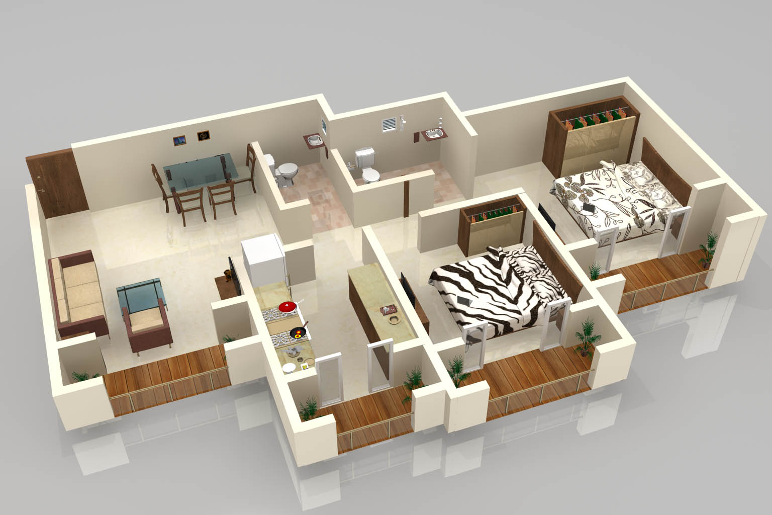 3d floor plan by atul gupta at for Small house design 3d