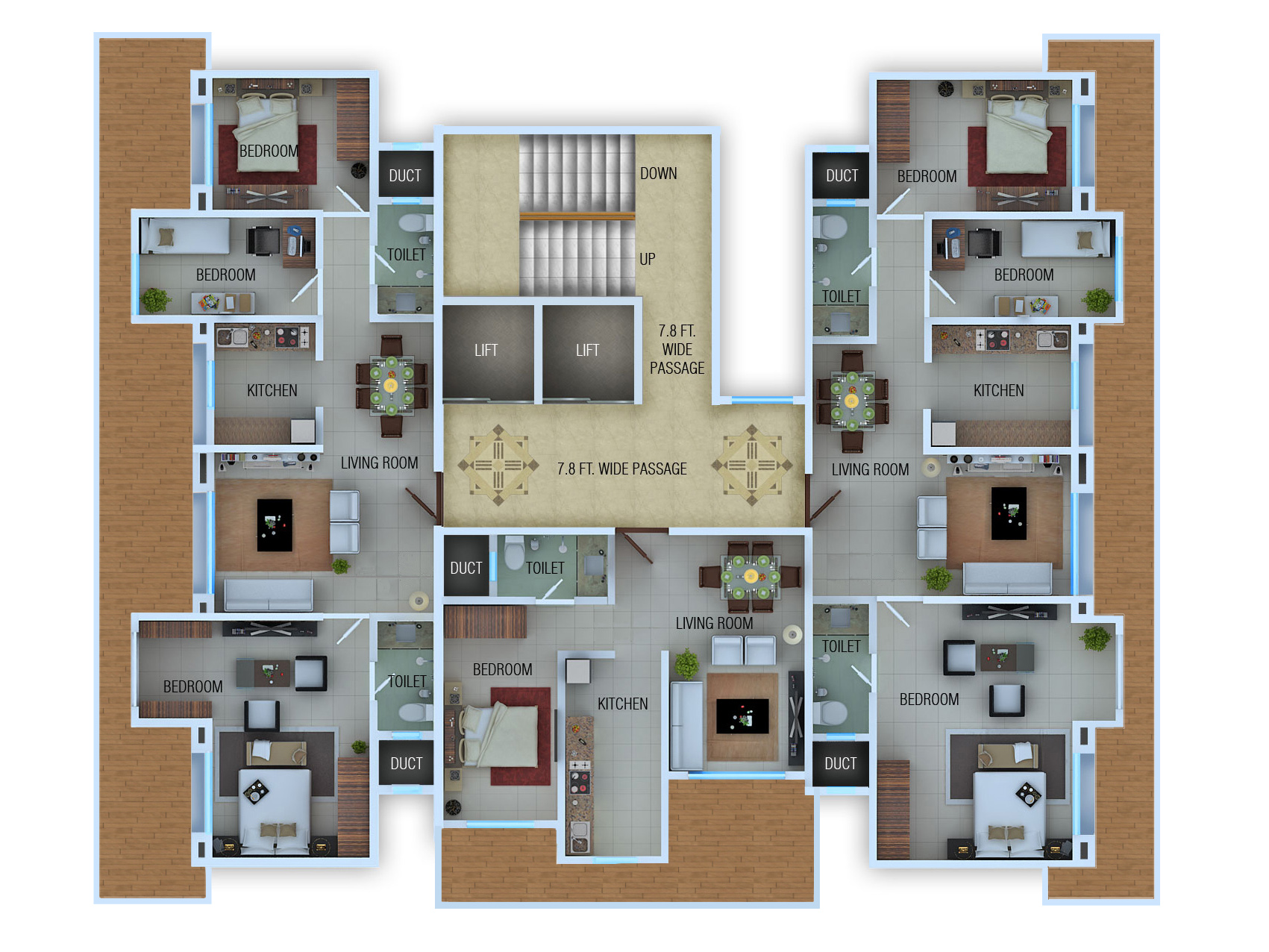 Rendered floor plans and isometric by atul kudchadker at for Rendered floor plan