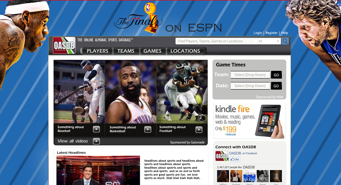 Web design interactive sports database site