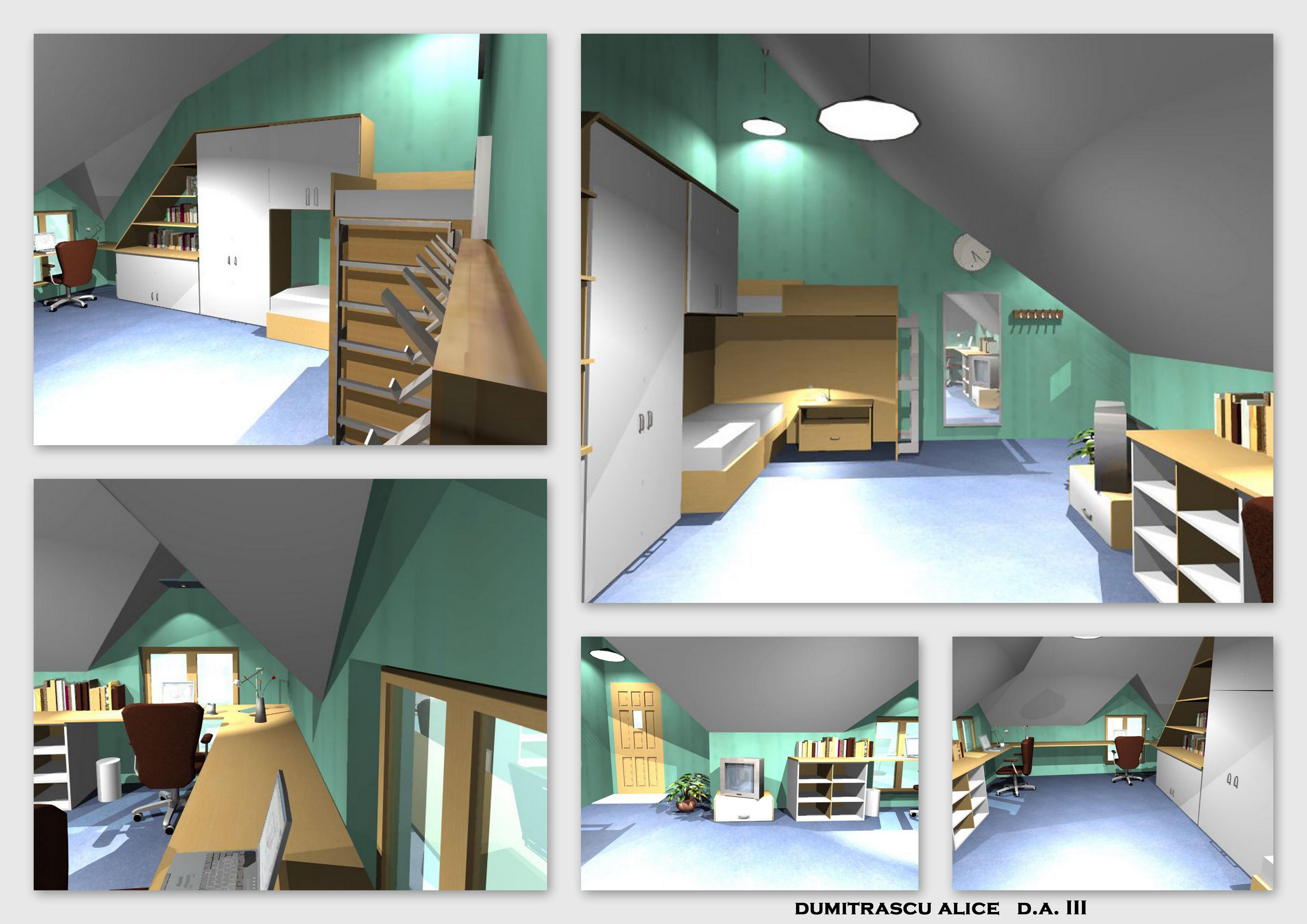 Mansard room for 2 students by dumitrascu alice at for Mansard room