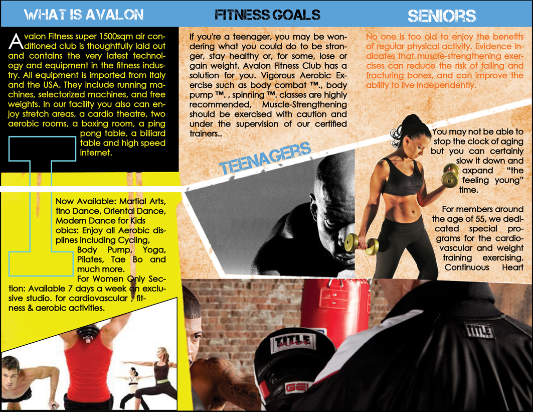 Print magazines by karam diab at Coroflot – Gym Brochure