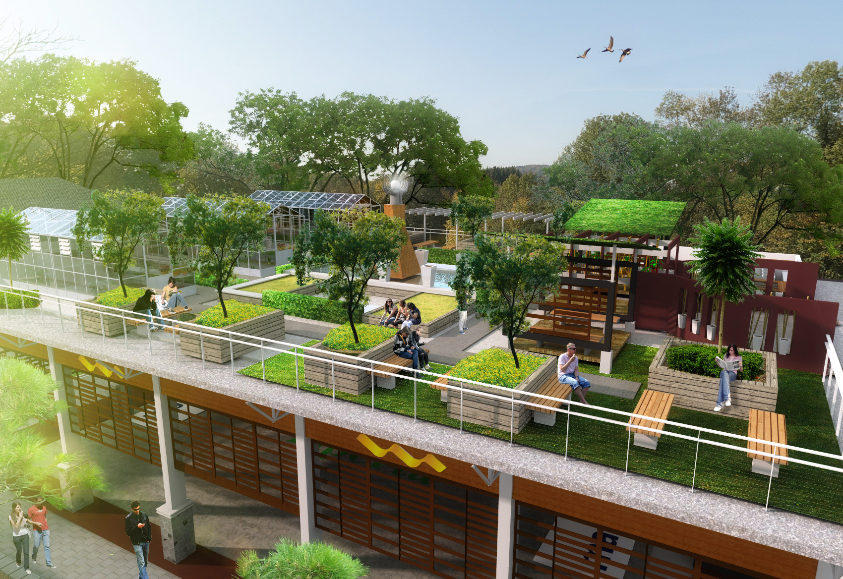 Unpad sport center roof garden by rheza nugraha at for Roof garden pictures