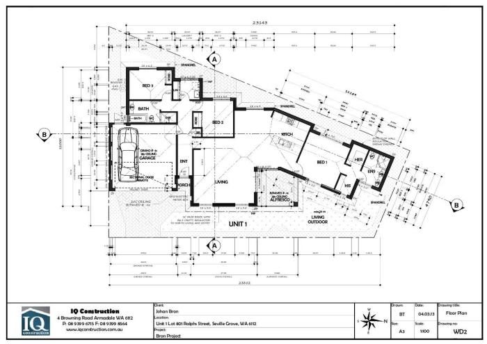 One storey residential dwelling in australia complete set for Complete set of architectural drawings pdf