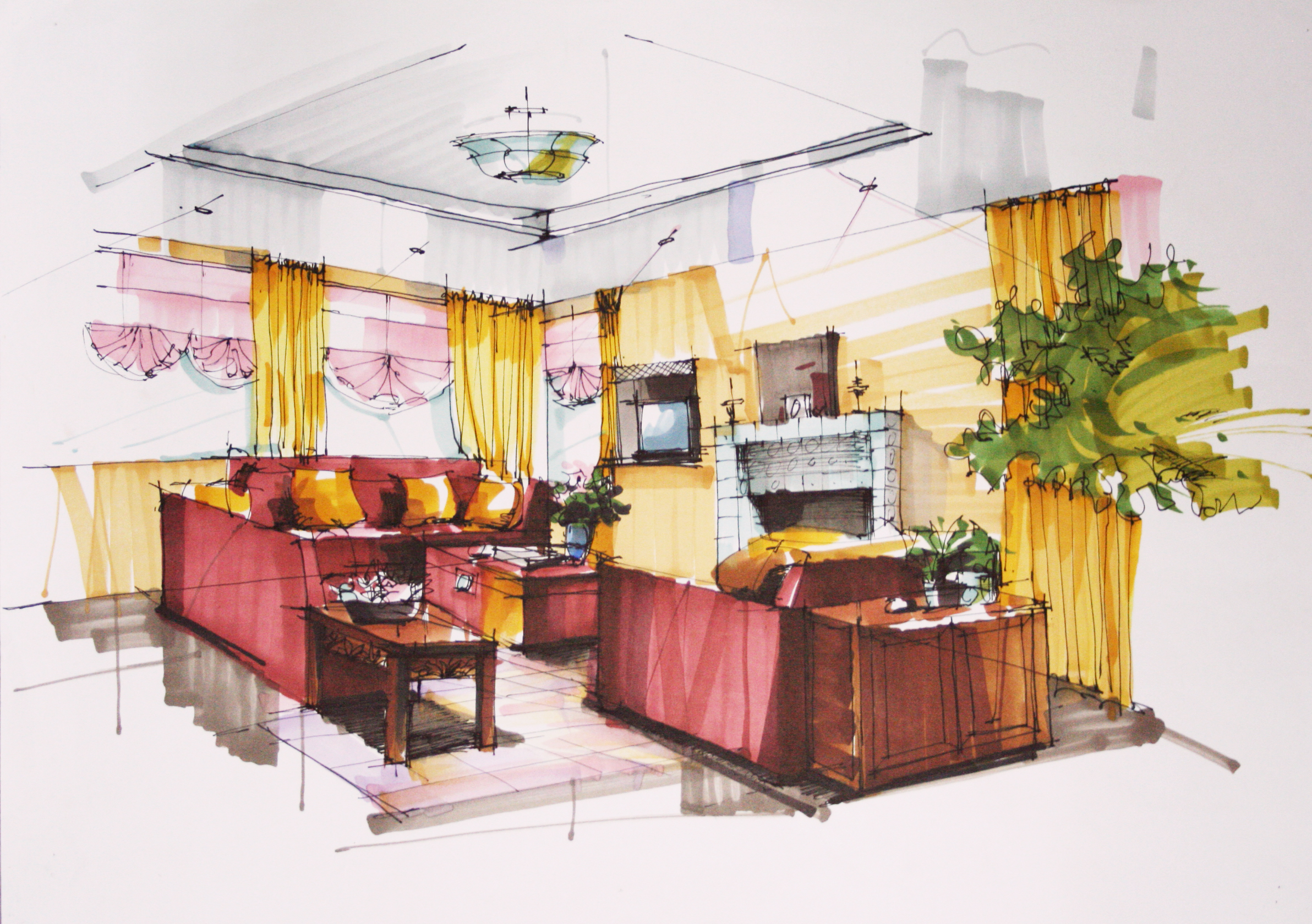 Interior Design Hand Drawings - Home