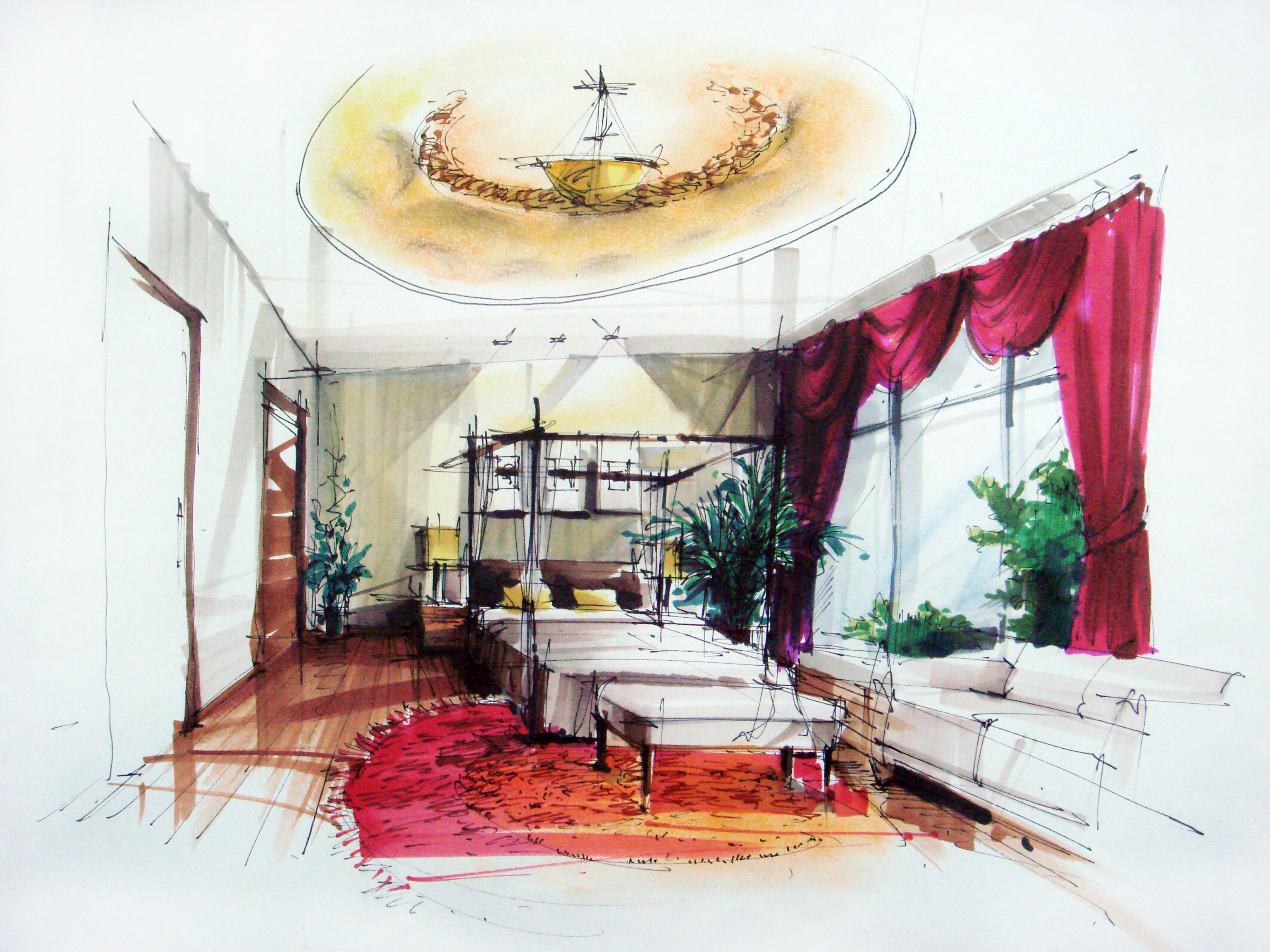 Hand drawing by yao wang at for Interior designs sketches