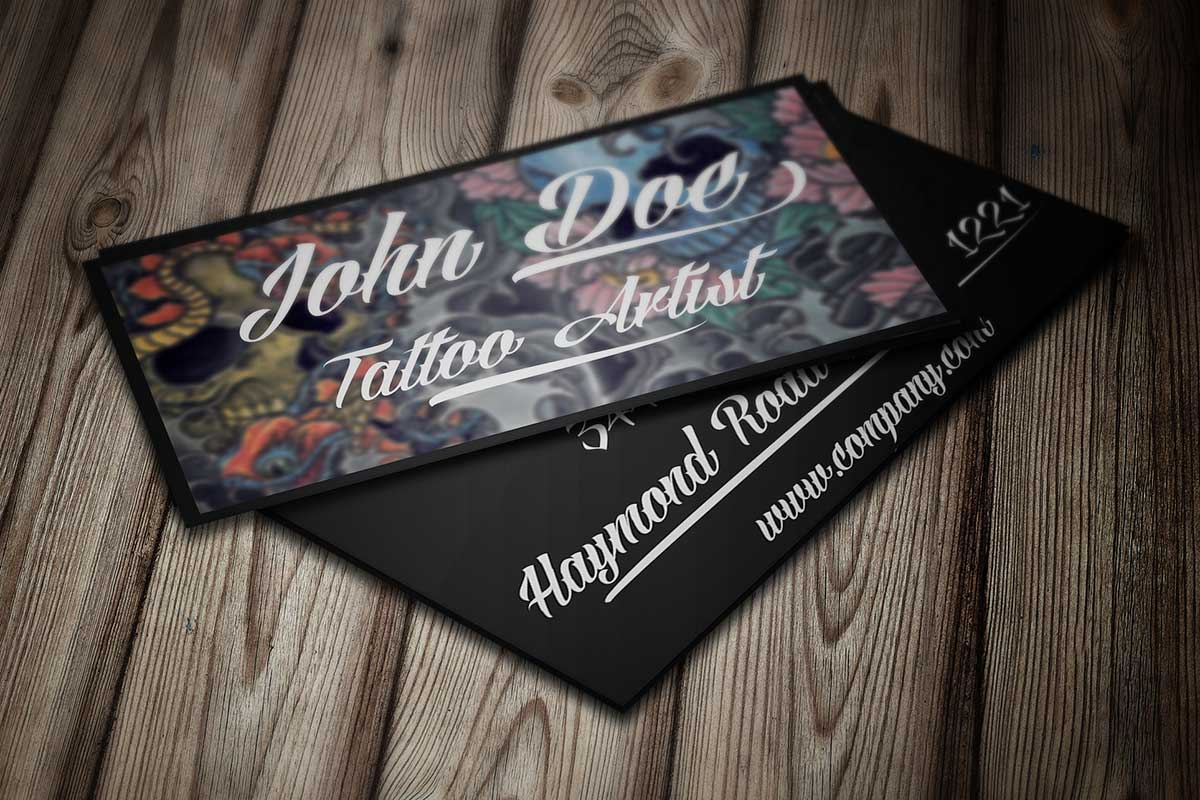 Tattoo business card template by borce markoski at for Business card size tattoos