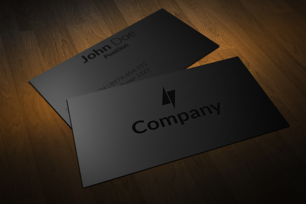 Clean Black On Black Business Cards Design By Borce