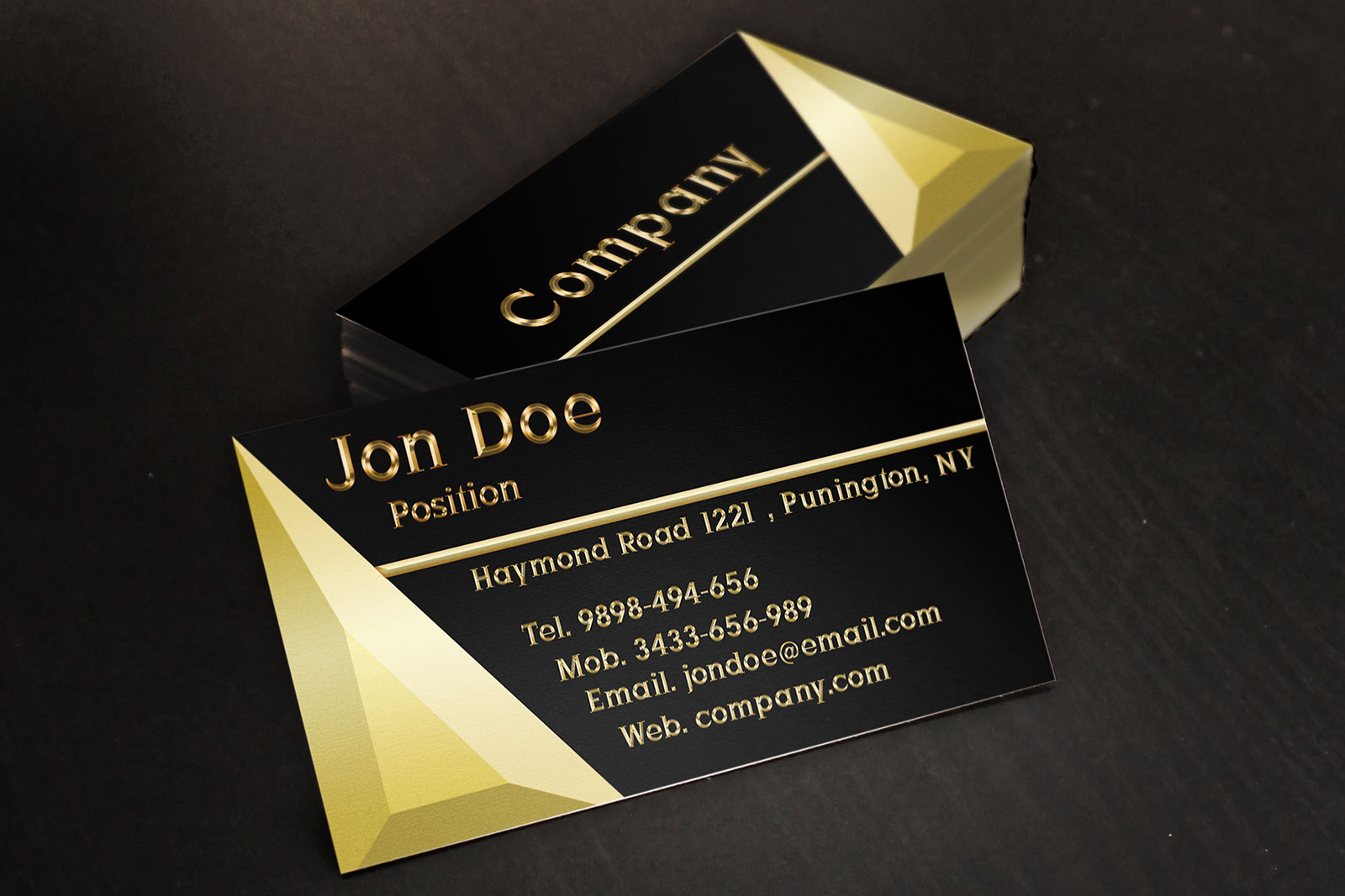Black and Gold Jewelry Store Business Card Template by