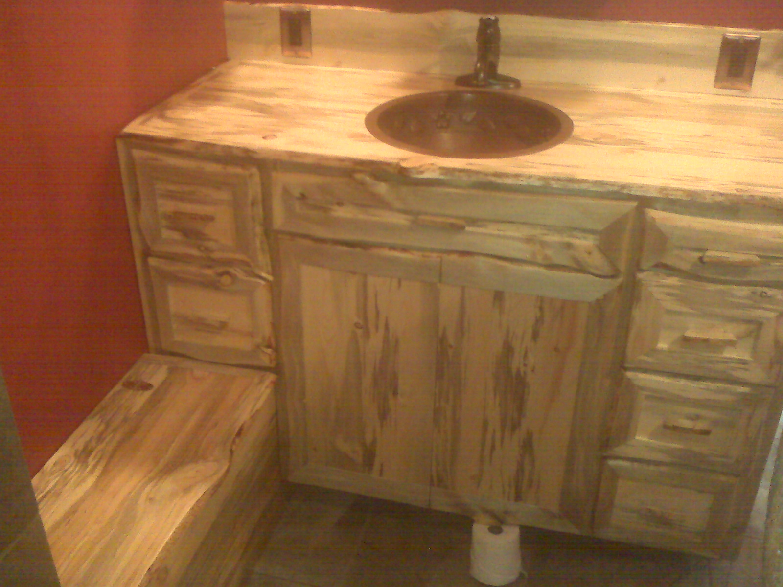Beetle Kill Pine Bathroom Vanity And Bench By Tommy K At