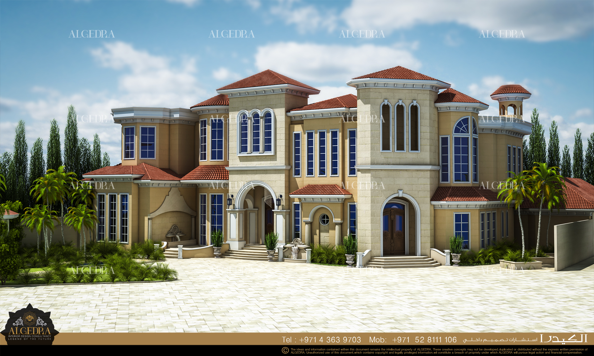 Villa exterior design by algedra interior design at for Villa exterior design ideas