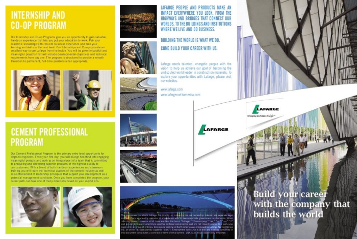 Lafarge Campus Recruitment Brochure by Judy Weinberg at Coroflot.com