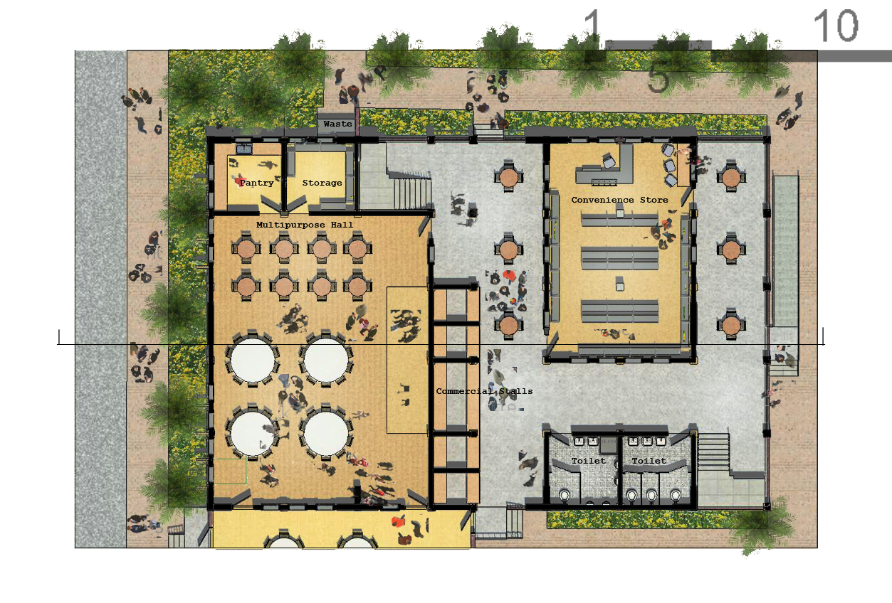 Community center socialized housing by jan paul tomilloso at youth center ground floor plan revit photoshop jameslax Image collections