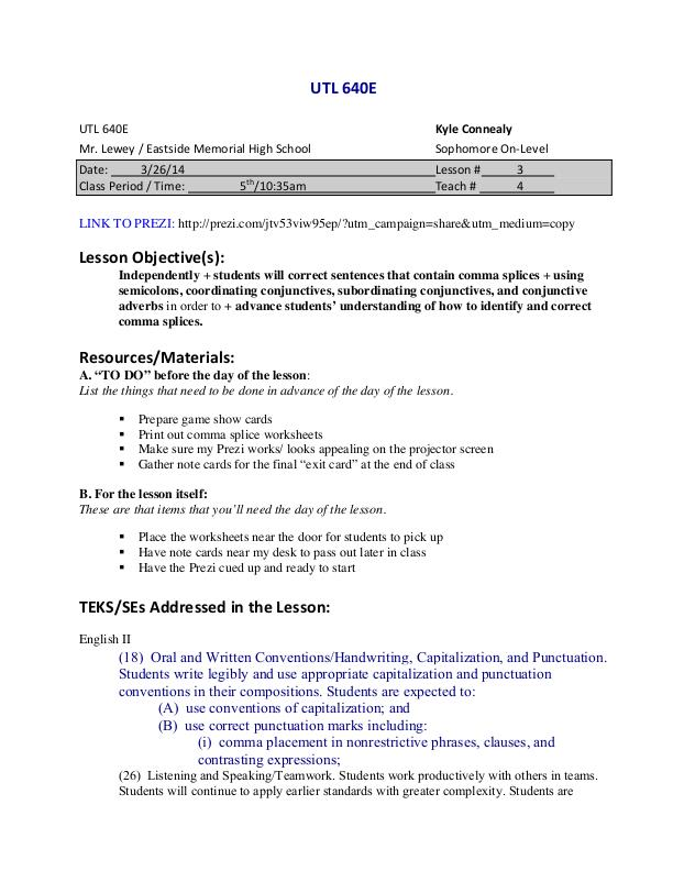 UTeach Spring 2014 by Kyle Connealy at Coroflot – Comma Splices Worksheet