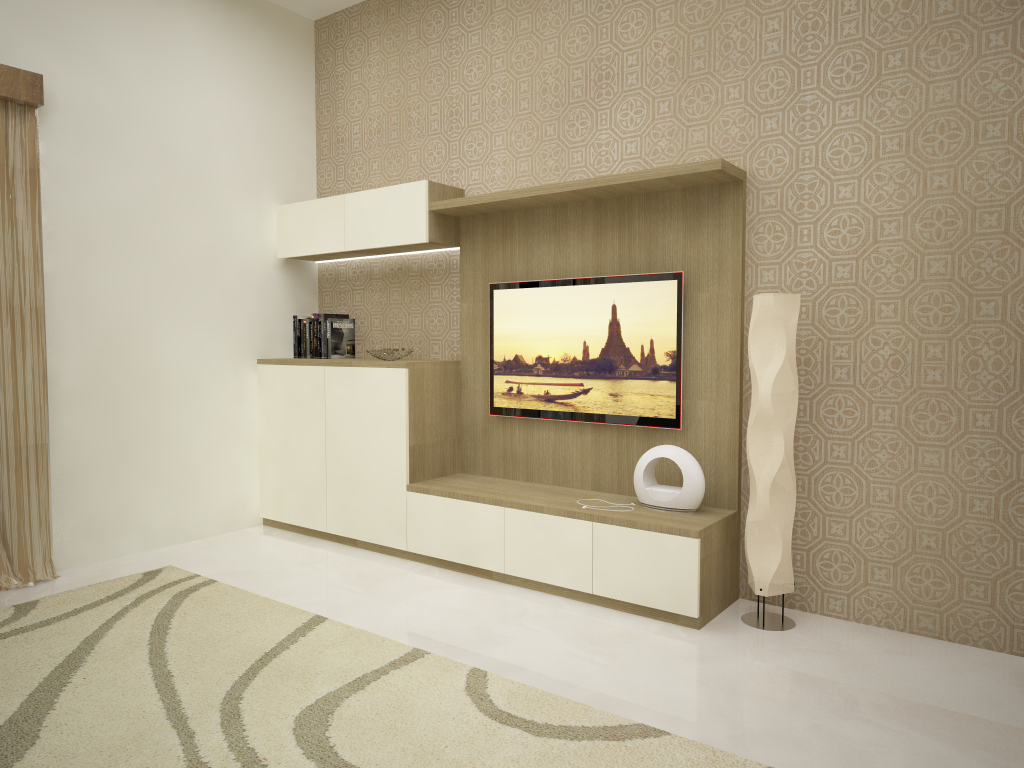Prestige silver oak by priyanka gupta at Master bedroom tv wall unit