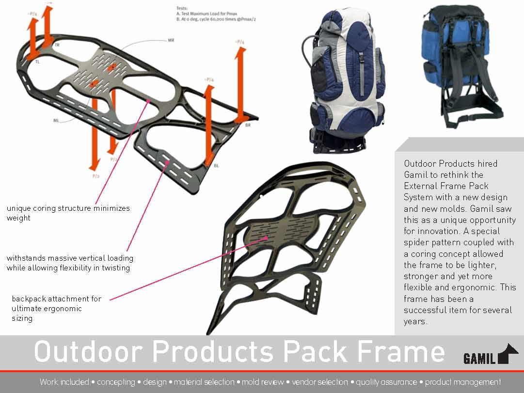 external frame pack system outdoor products hired gamil to rethink the external frame pack system with a new design and new molds