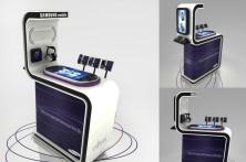 Mobiliario interativo lancamento de celulares Samsung