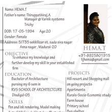 Work Samples. Resume  Architecture Student Resume