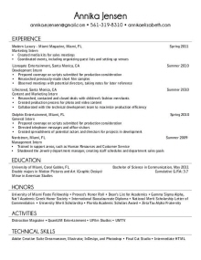 resume for a recent college graduate